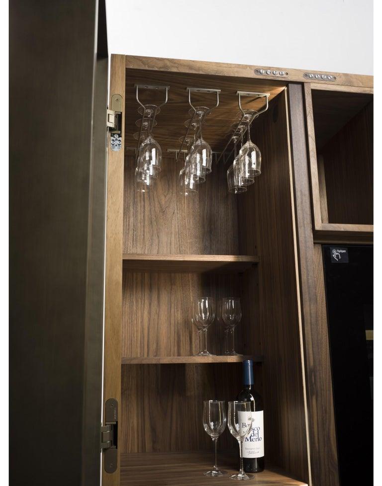 Contemporary Italian Wine Storage Cabinet in Solid Walnut For Sale 3