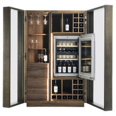 Contemporary Italian Wine Storage Cabinet in Solid Walnut