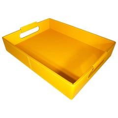 Contemporary Italian Yellow Rudi leather Ginepro Tray