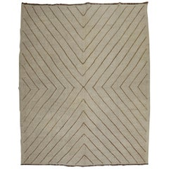 Contemporary Ivory Brown Modern Kilim