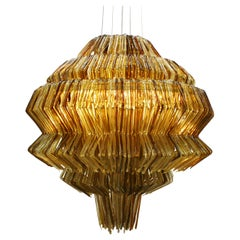Contemporary Jacopo Foggini Pendant Gold and Brown Polycarbonate Italian Lamp
