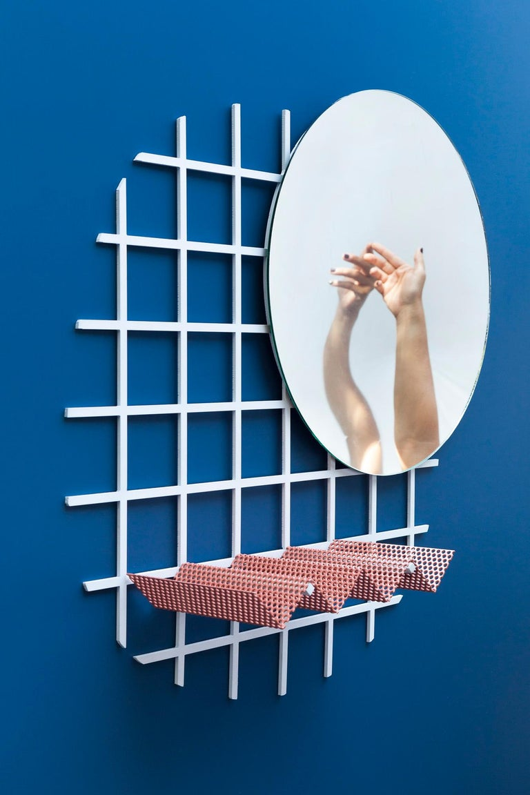 Powder-Coated Contemporary Janus Mirror in Laser Cut Steel Grid and Perforated Zig Zag Tray For Sale