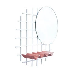 Contemporary Janus Mirror in Laser Cut Steel Grid and Perforated Zig Zag Tray
