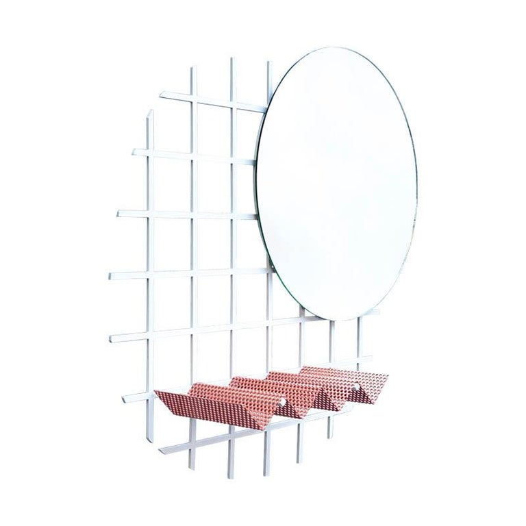 Contemporary Janus Mirror in Laser Cut Steel Grid and Perforated Zig Zag Tray For Sale