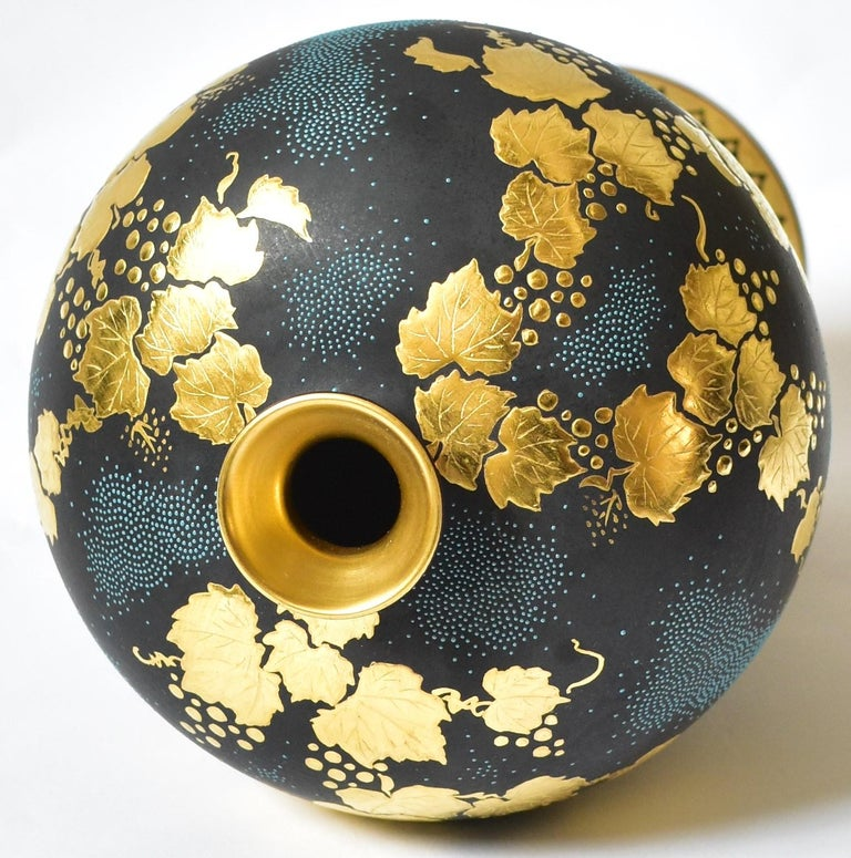 Gilt Contemporary Japanese Blue Black Gold Porcelain Vase by Kutani Master Artist For Sale