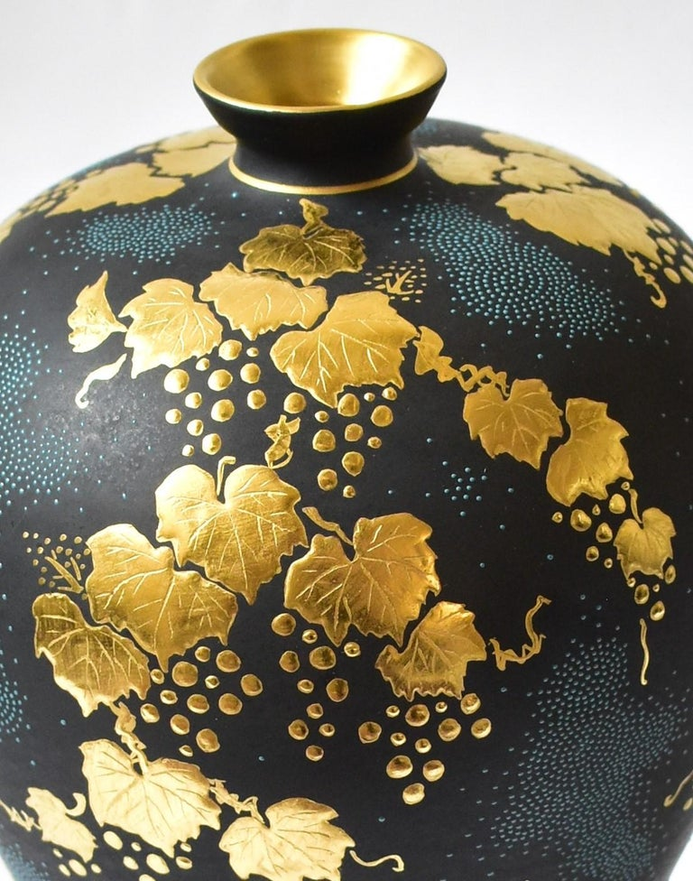 Contemporary Japanese Blue Black Gold Porcelain Vase by Kutani Master Artist In New Condition For Sale In Vancouver, CA