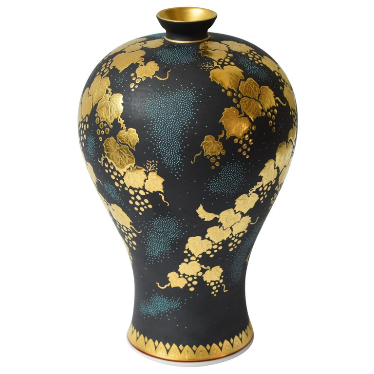 Contemporary Japanese Blue Black Gold Porcelain Vase by Kutani Master Artist For Sale