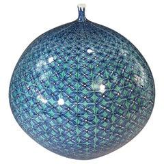 Contemporary Japanese Blue Black Green Porcelain Vase by Master Artist