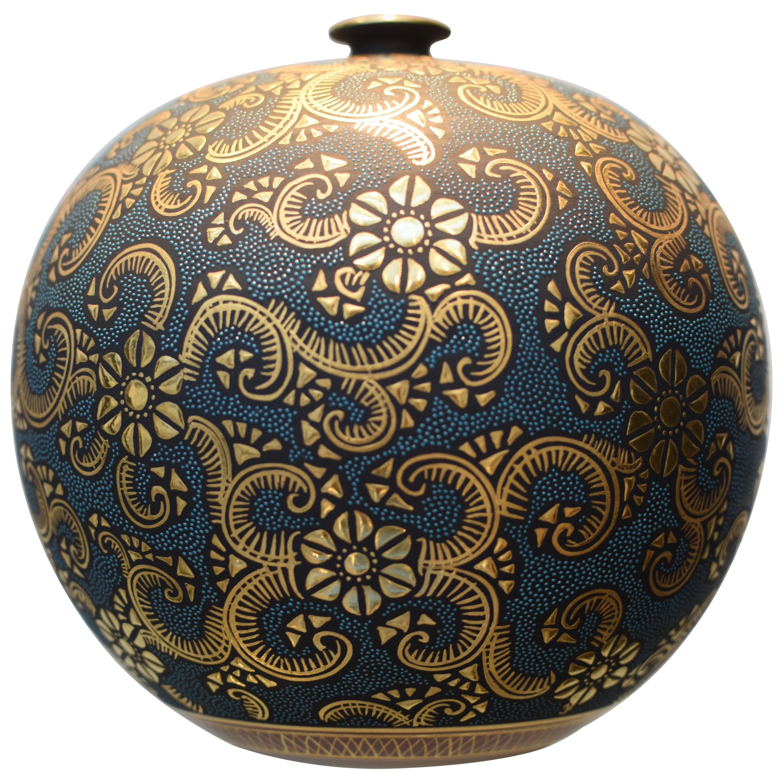 Contemporary Japanese Blue Pure Gold Kutani Porcelain Vase by Master Artist