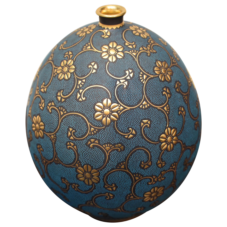 Contemporary Japanese Blue Pure Gold Porcelain Vase by Kutani Master Artist
