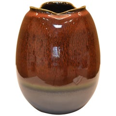 Contemporary Japanese Brown Black Hand-Glazed Porcelain Vase by Master Artist
