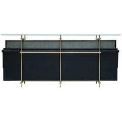 Contemporary Japanese Console with Folding Screen Zen Japanese Modern