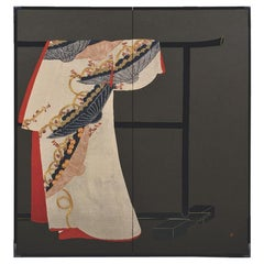 Contemporary Japanese Folding Screen Red Black Gilded Silk Raised Kimono Art