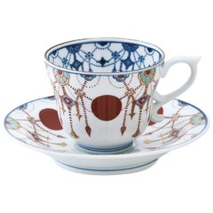 Contemporary Japanese Gilded Blue Red Hand Painted Porcelain Cup and Saucer
