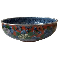 Contemporary Japanese Gilded Blue Red Porcelain Bowl by Master Artist