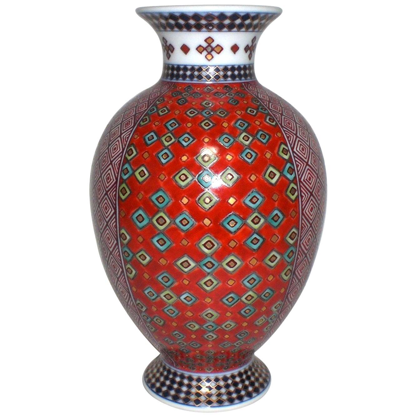 Contemporary Japanese Gilded Red Blue Porcelain Vase by Master Artist