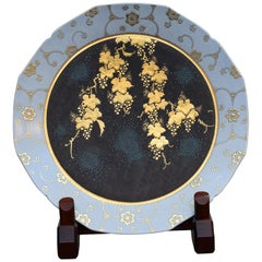 Contemporary Japanese Gold Blue Black Porcelain Charger by Kutani Master Artist