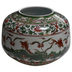 Contemporary Japanese Green White Red Porcelain Vase by Master Artist