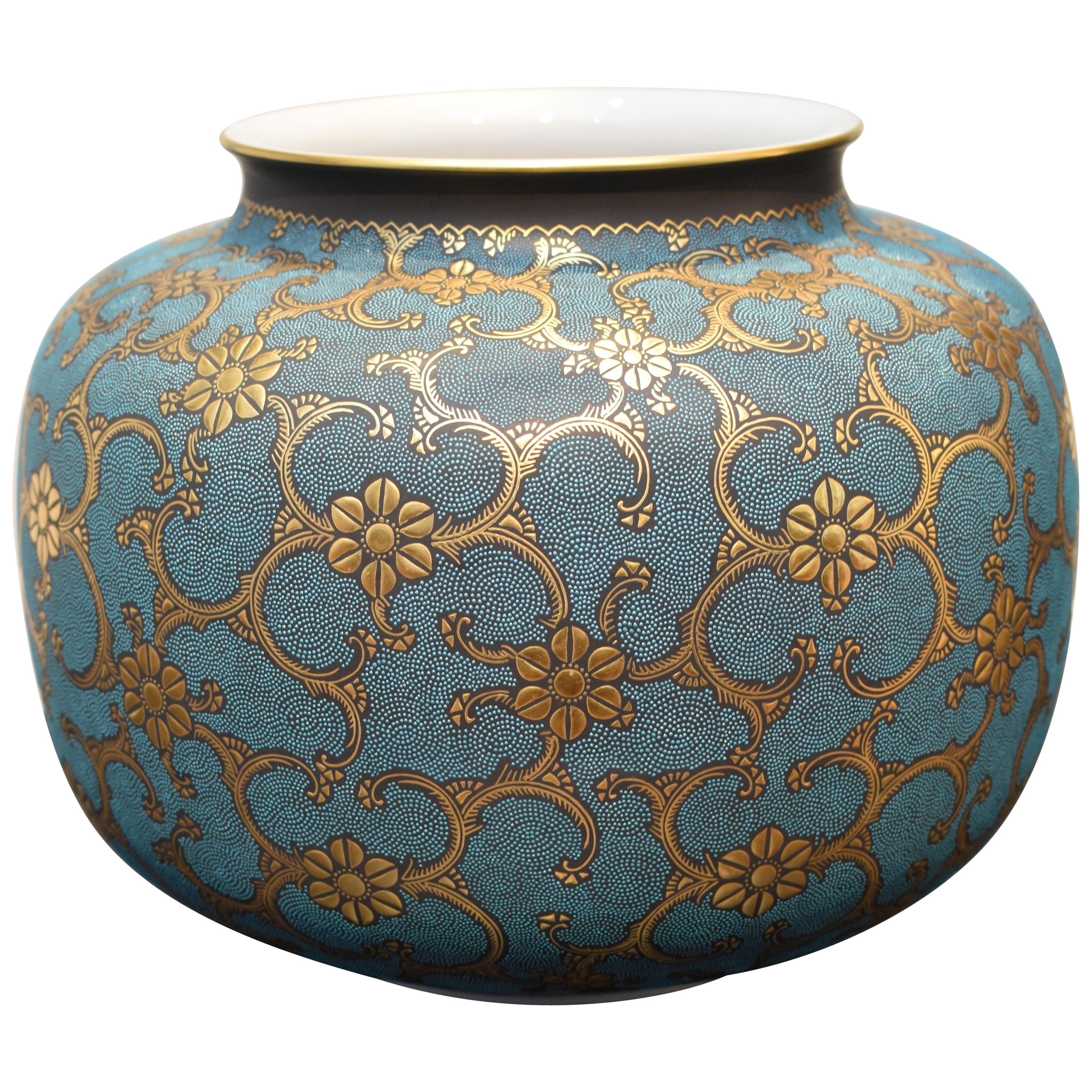 Contemporary Blue Pure Gold Porcelain Vase by Japanese Master Artist