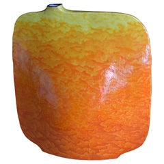 Contemporary Japanese Kutani Hand-Painted Orange Porcelain Vase by Master Artist