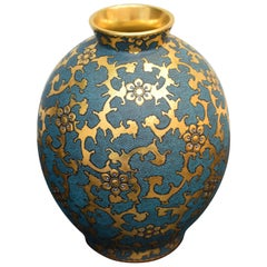 Japanese Pure Gold Blue Porcelain Vase by Contemporary Master Artist
