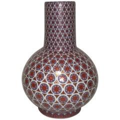 Contemporary Japanese Red Blue Gilded Decorative Porcelain Vase by Master Artist