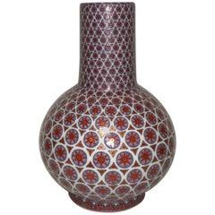 Japanese Contemporary Red White Gold Blue Porcelain Vase by Master Artist
