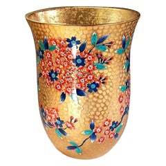 Red Gold Porcelain Vase by Contemporary Japanese Master Artist