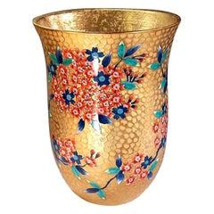 Contemporary Japanese Red Gilded Porcelain Vase by Master Artist