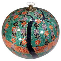 Contemporary Japanese Red Green Gilded Porcelain Vase by Imari Master Artist