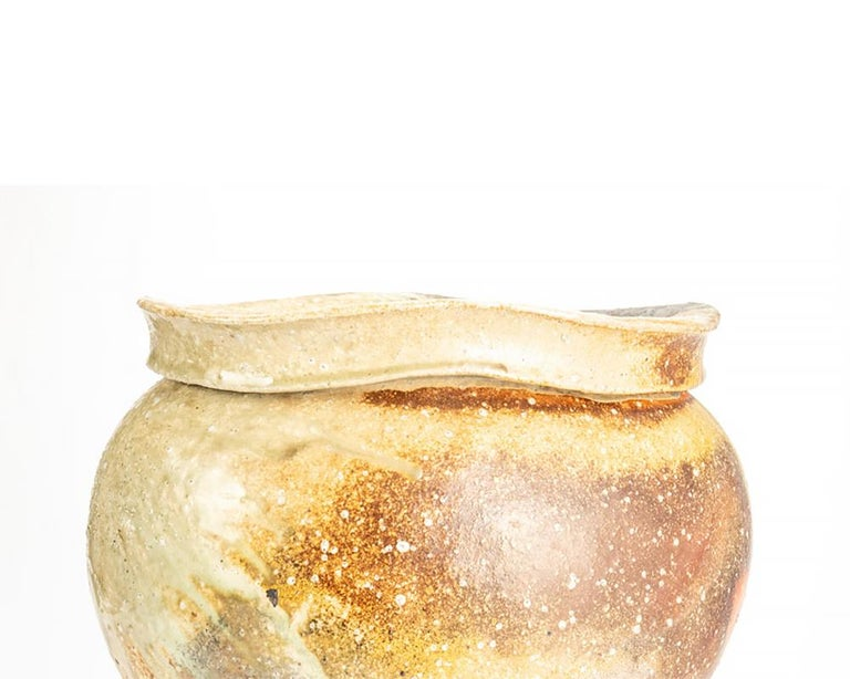Fired Contemporary Japanese Shigaraki Pottery Vase For Sale