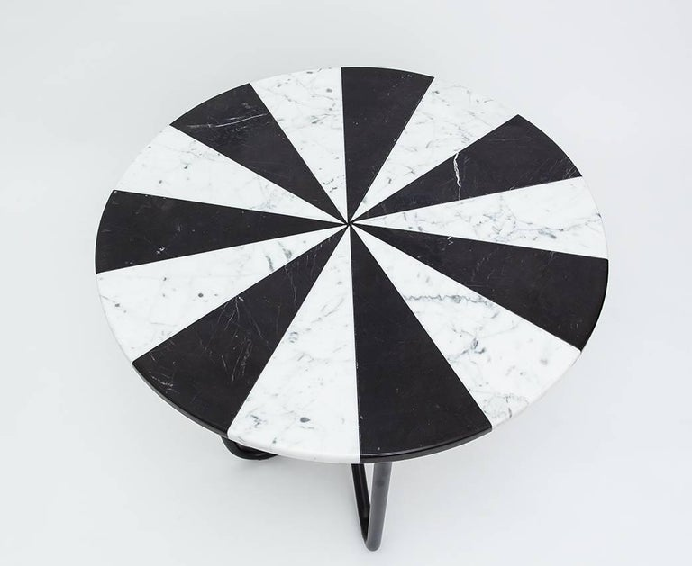 Arts and Crafts Contemporary Jasmine Pizza Monochrome Marble Side Table with Black Metal Legs For Sale