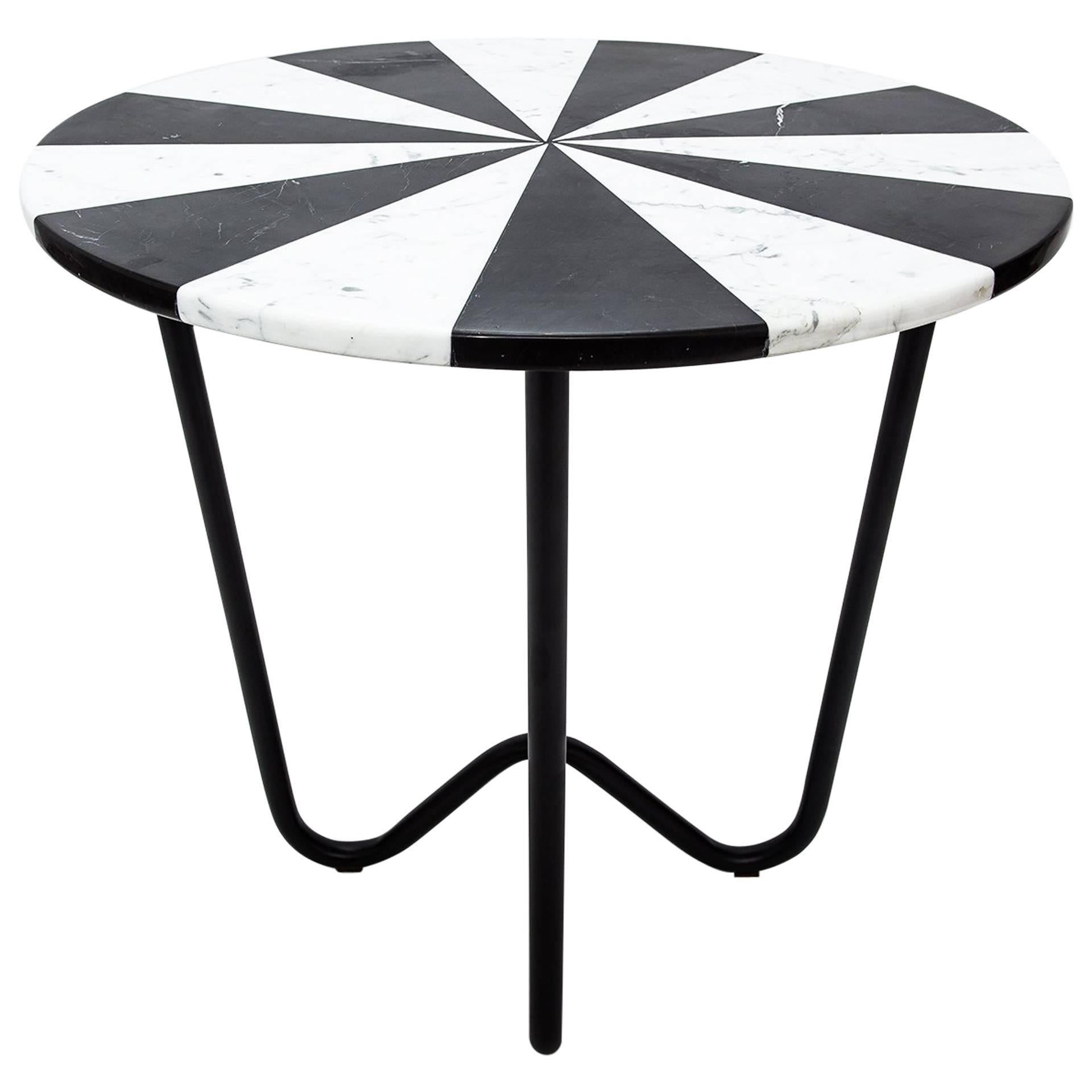 Contemporary Jasmine Pizza Monochrome Marble Side Table with Black Metal Legs