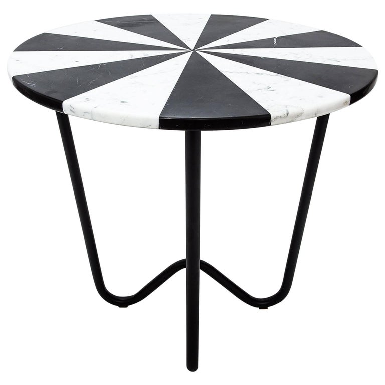 Contemporary Jasmine Pizza Monochrome Marble Side Table with Black Metal Legs For Sale