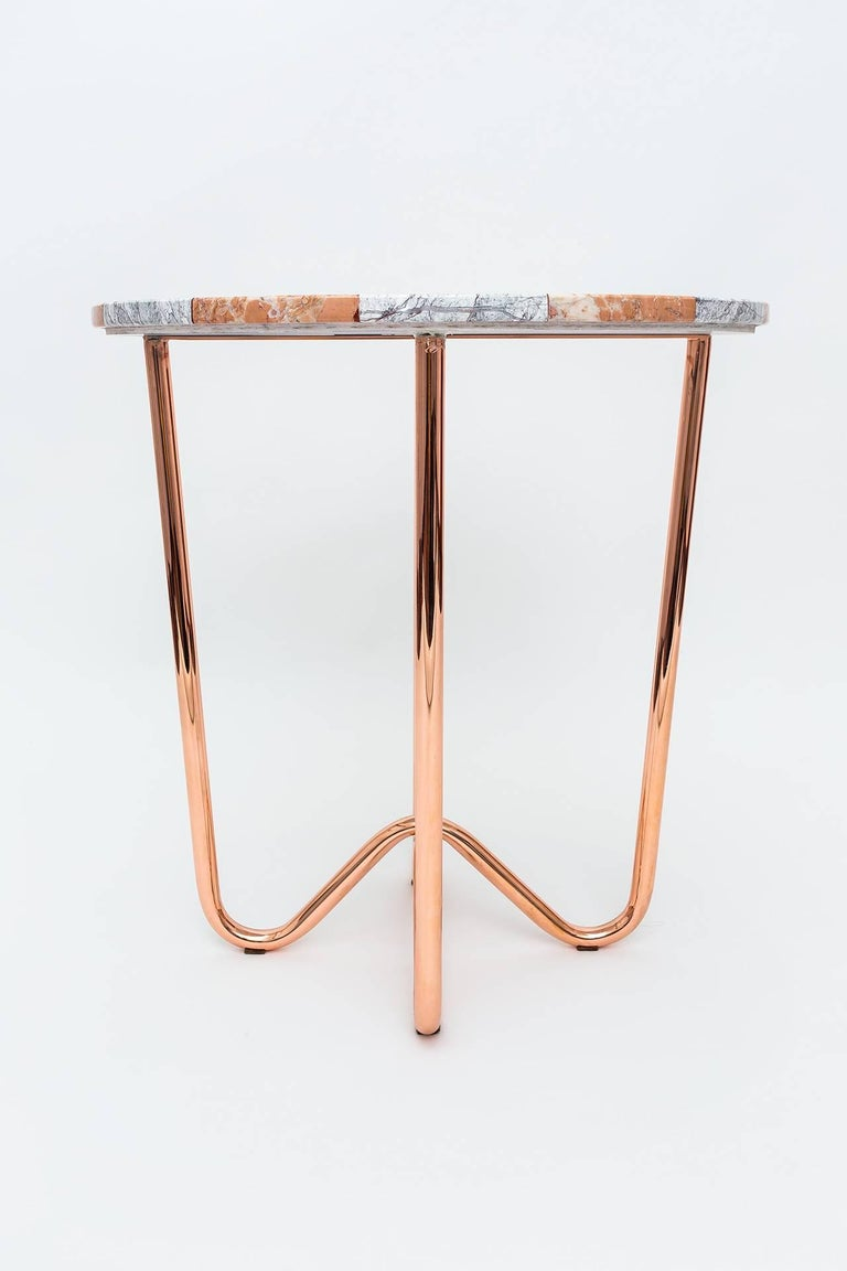 Turkish Contemporary Jasmine Pizza Pink Marble Side Table with Polished Copper Legs For Sale