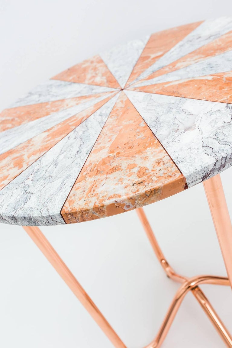 Contemporary Jasmine Pizza Pink Marble Side Table with Polished Copper Legs In New Condition For Sale In Istanbul, TR