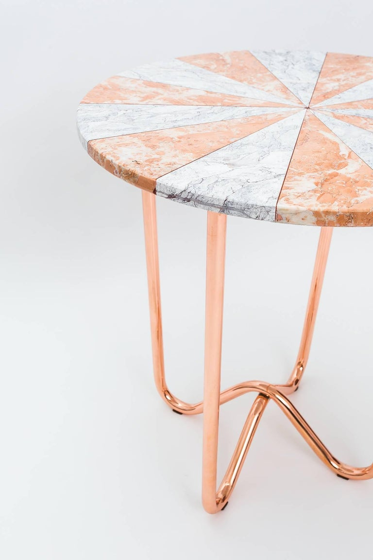 Contemporary Jasmine Pizza Pink Marble Side Table with Polished Copper Legs For Sale 1