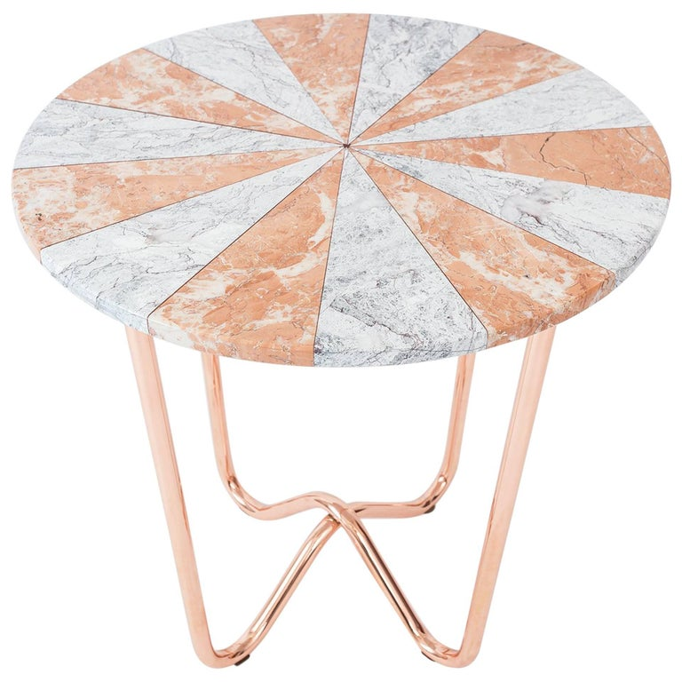 Contemporary Jasmine Pizza Pink Marble Side Table with Polished Copper Legs For Sale