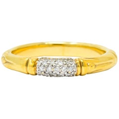 Contemporary John Hardy Pave Diamond 18 Karat Gold Bamboo Band Ring