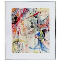 Contemporary John Loree Signed Framed Mixed Media Watercolor Abstract Painting