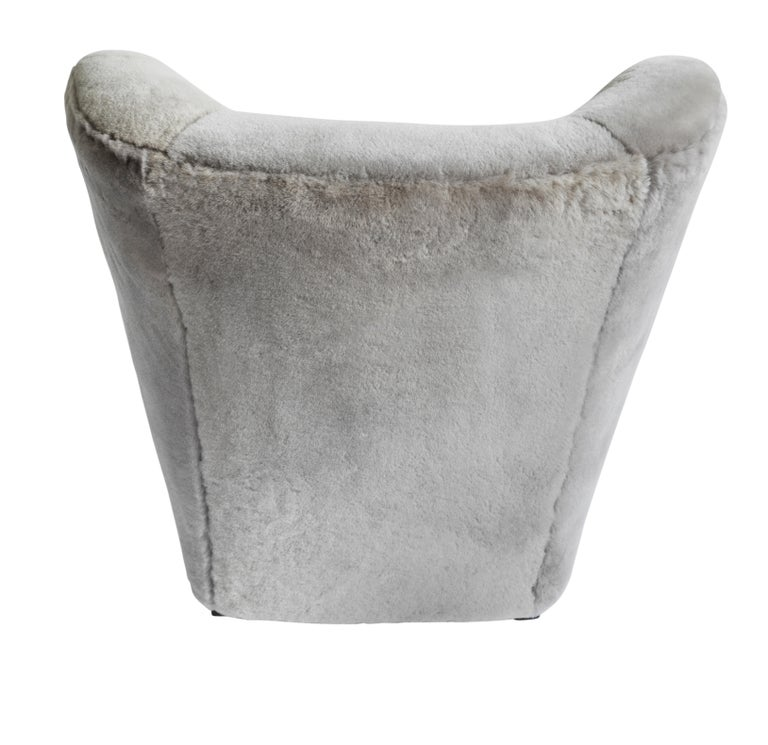 British Contemporary Jolene Armchair in Grey Sheepskin Midcentury Scandinavian Inspired For Sale