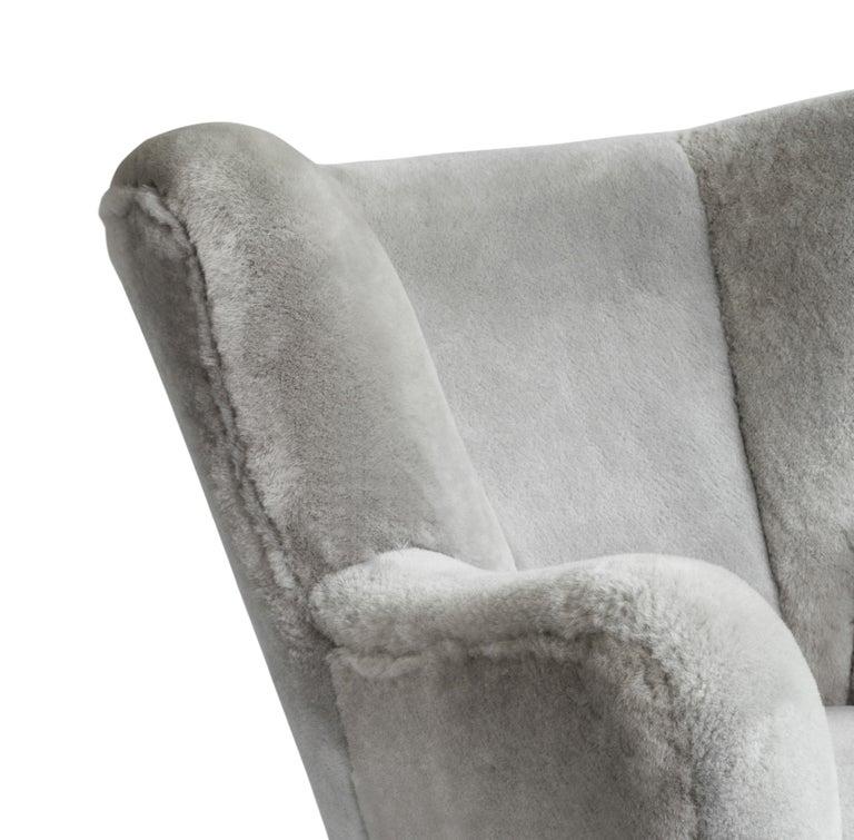Carved Contemporary Jolene Armchair in Grey Sheepskin Midcentury Scandinavian Inspired For Sale