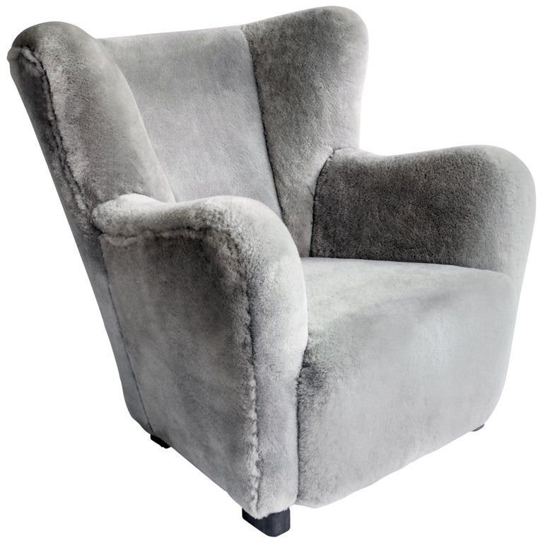 Contemporary Jolene Armchair in Grey Sheepskin Midcentury Scandinavian Inspired For Sale