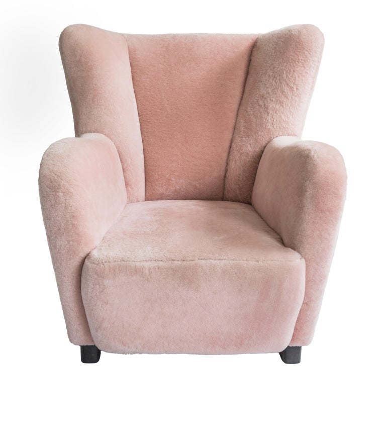 Modern Contemporary Jolene Armchair in Pink Sheepskin Midcentury Scandinavian Inspired For Sale