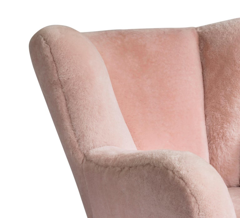 Carved Contemporary Jolene Armchair in Pink Sheepskin Midcentury Scandinavian Inspired For Sale