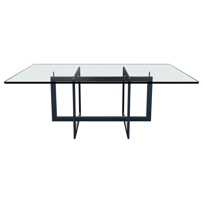 Contemporary Jonathan High Table with Tempered Crystal Top, Black Version For Sale