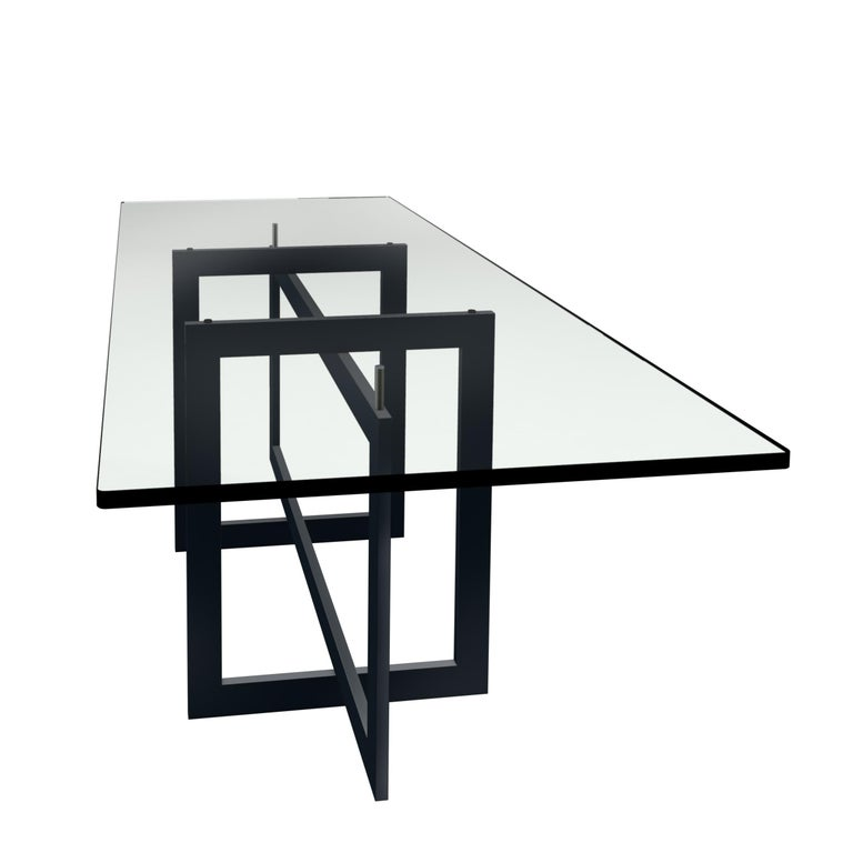 Mid-Century Modern Contemporary Jonathan High Table with Tempered Crystal Top, Black Version For Sale