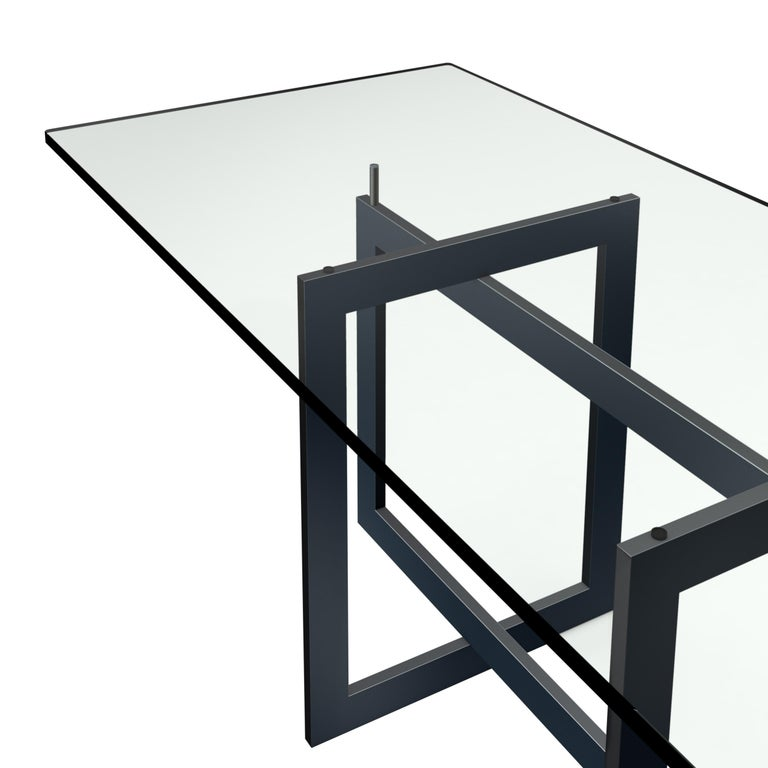 Italian Contemporary Jonathan High Table with Tempered Crystal Top, Black Version For Sale
