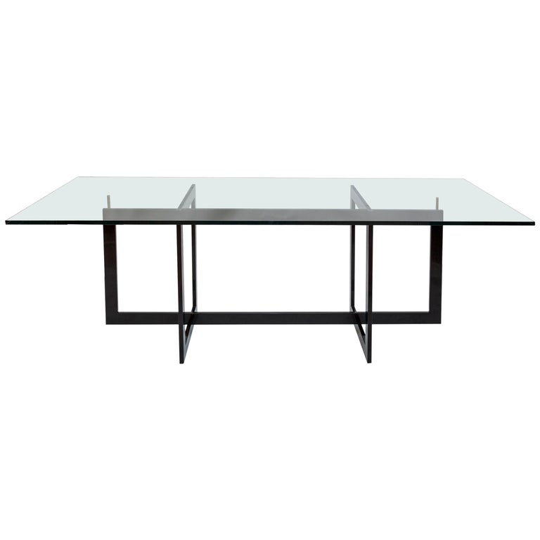 Contemporary Jonathan High Table with Tempered Crystal Top For Sale