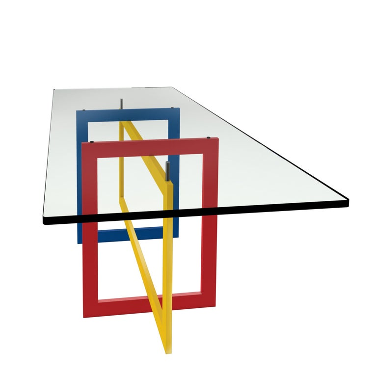 Mid-Century Modern Contemporary Jonathan High Table with Tempered Crystal Top, Mondrian Version For Sale